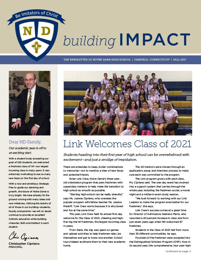Notre Dame HS newsletter