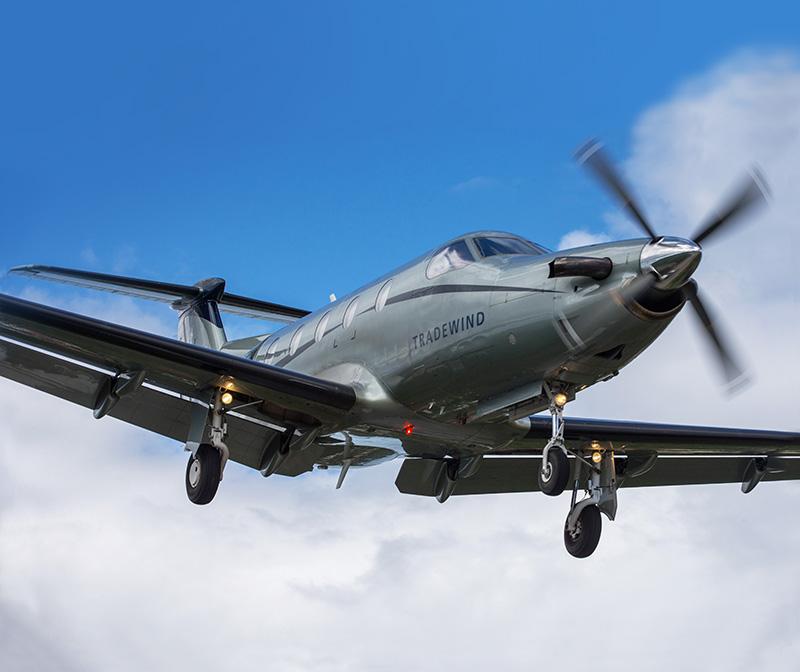 Tradewind Aviation PC12 in air